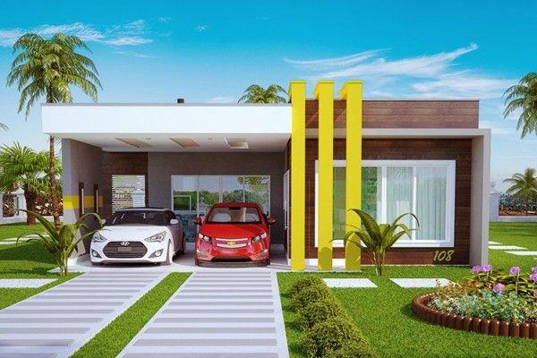 Projetos e fachadas de casas t rrea moderna sem telhado for Casa moderna 140 m2