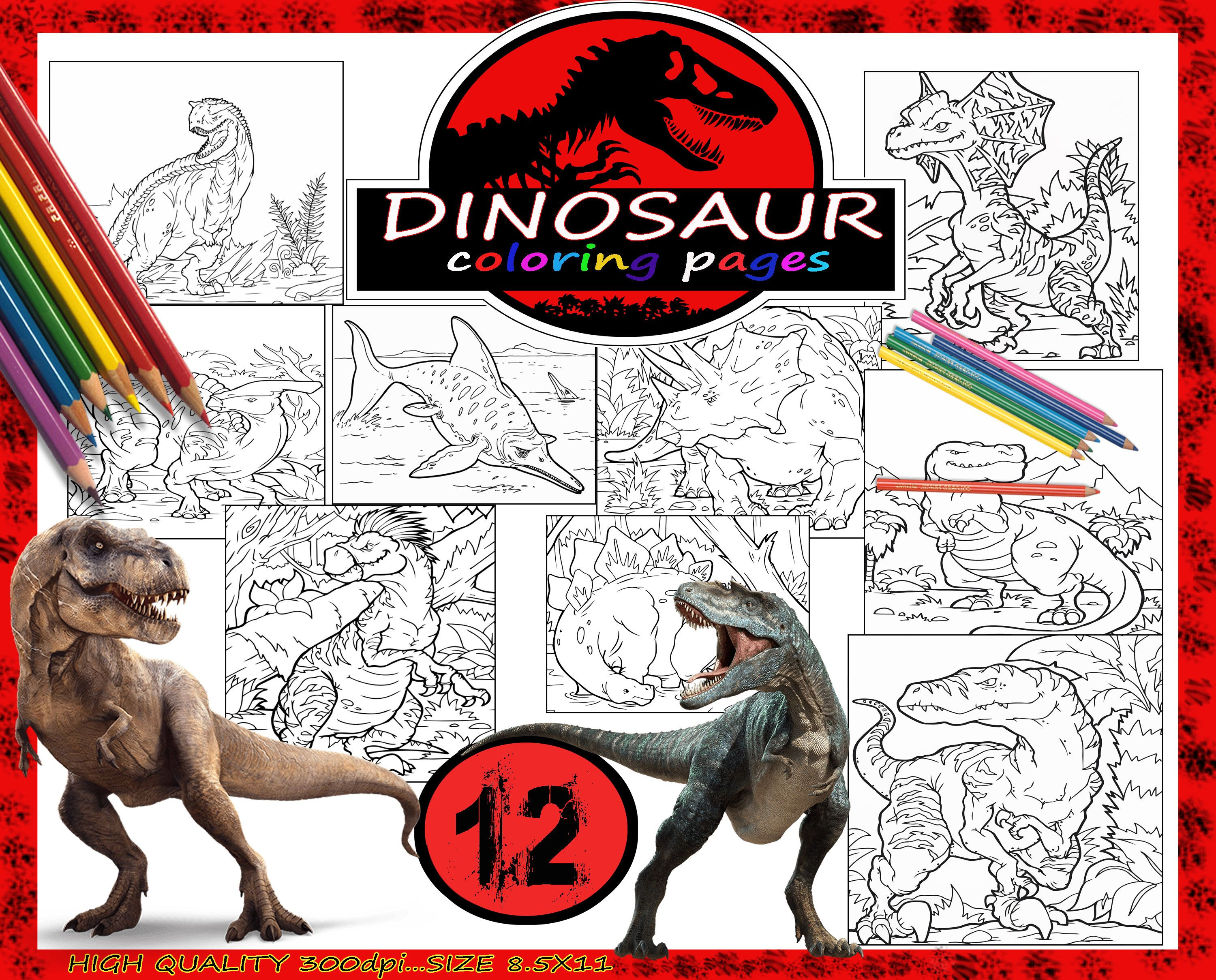 My Etsy Shop Dinosaurs Coloring Pages PagesKids PagesColoring For Boys PrintingJurassic Park
