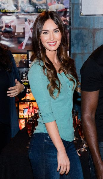 Megan Fox opted for a laid-back henley shirt and jeans combo when she attended the 'New Girl' 100th episode cake-cutting event.