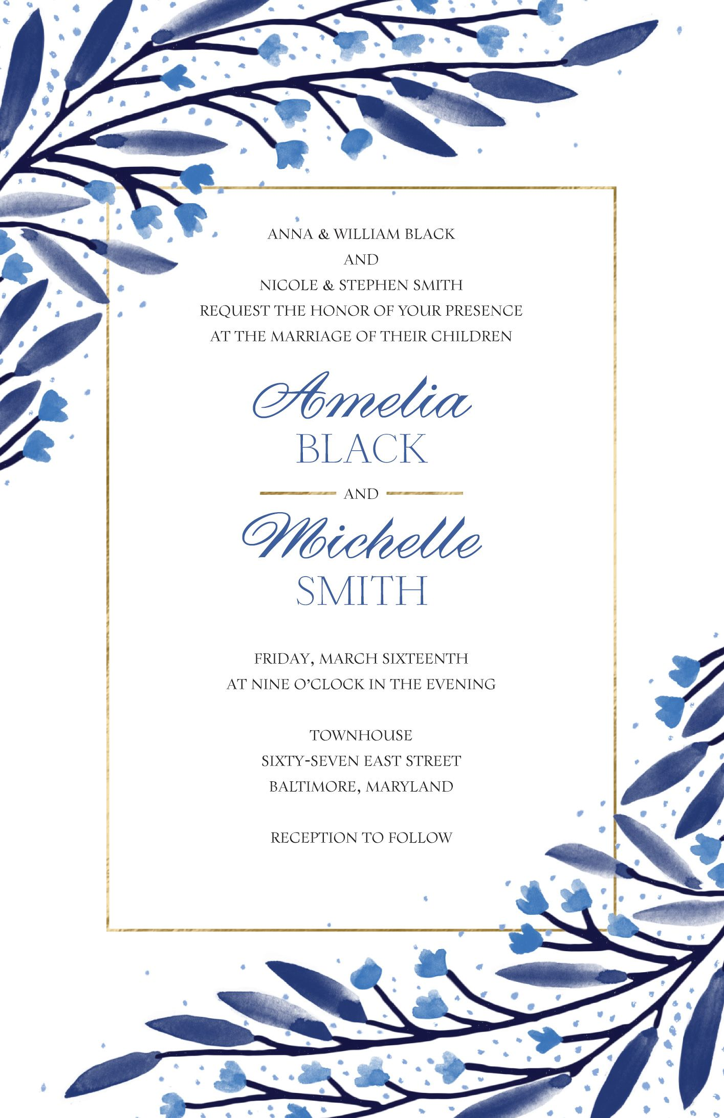 Sapphire Floral Invitations | Weddings by Vistaprint | Jewel Tones ...