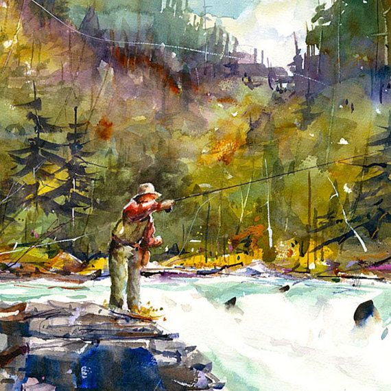 Flyfishing Watercolor Print Fish Art Painting By Dean Crouser In