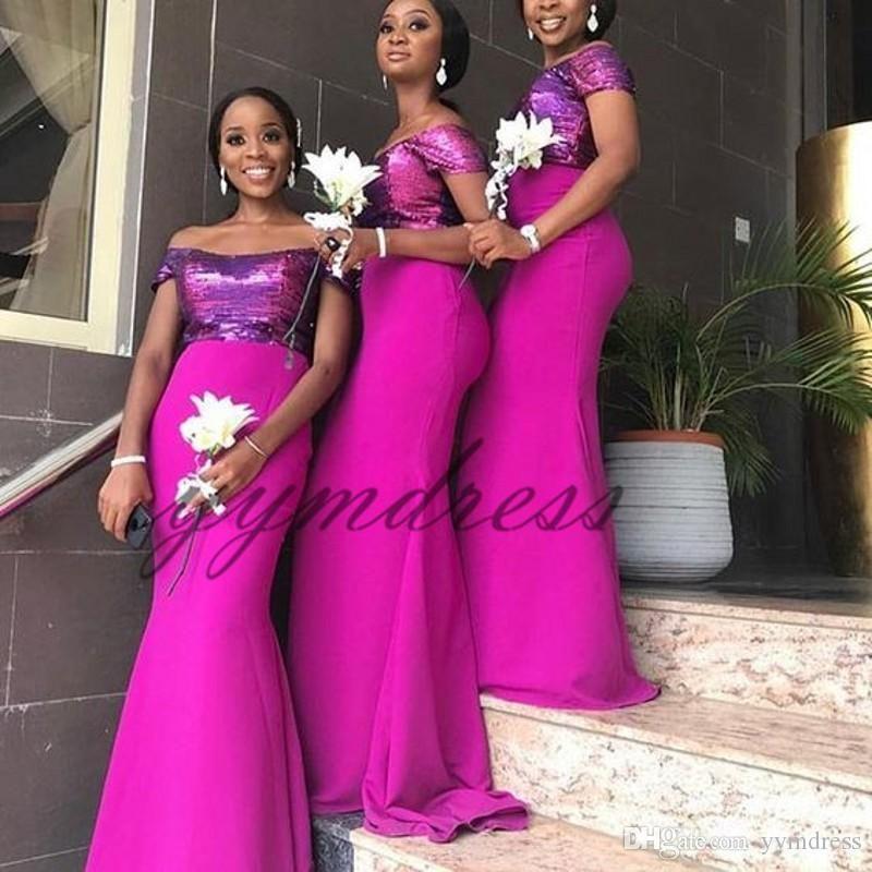 d5686e888b 2019 Fuchsia Mermaid Bridesmaid Dresses Sequins Floor Length Maid of ...
