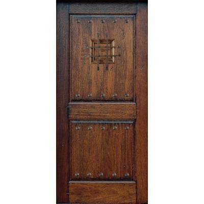 Main Door  Rustic Mahogany Type Prefinished Distressed Solid Wood Speakeasy Entry Slab at The Home Depot Tablet 599 2 Panel