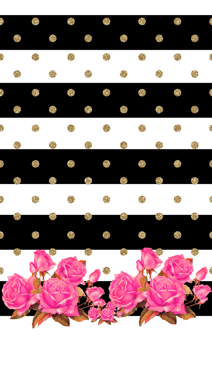 Border frame with black and yellow stripe on white background - Mommy Lhey Vintage Classy Rose Stripe And Polka Dot With Roses Wallpaper
