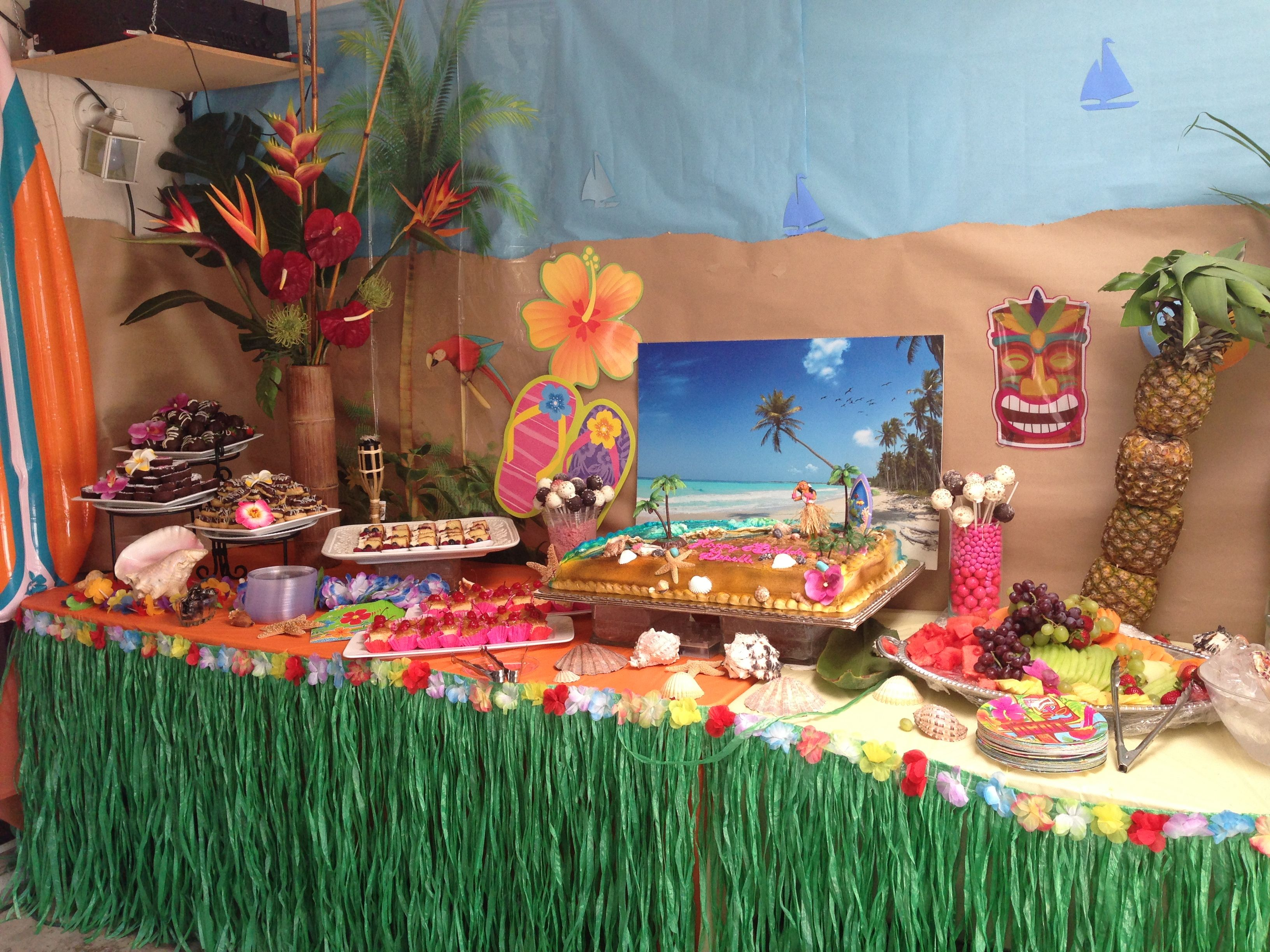 Hawaiian theme cake set up parties ideas pinterest for Beach themed backyard decor