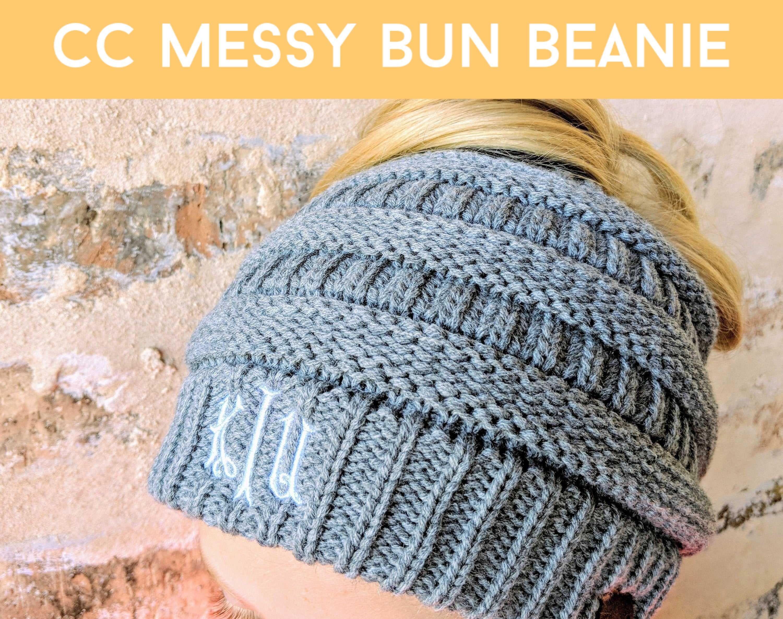 Monogrammed CC Beanie, CC Messy Bun Beanie, CC Messy Bun Cap, Messy Bun Beanie, High ponytail Beanie, winter hat, fall hat, fall beanie #kidsmessyhats
