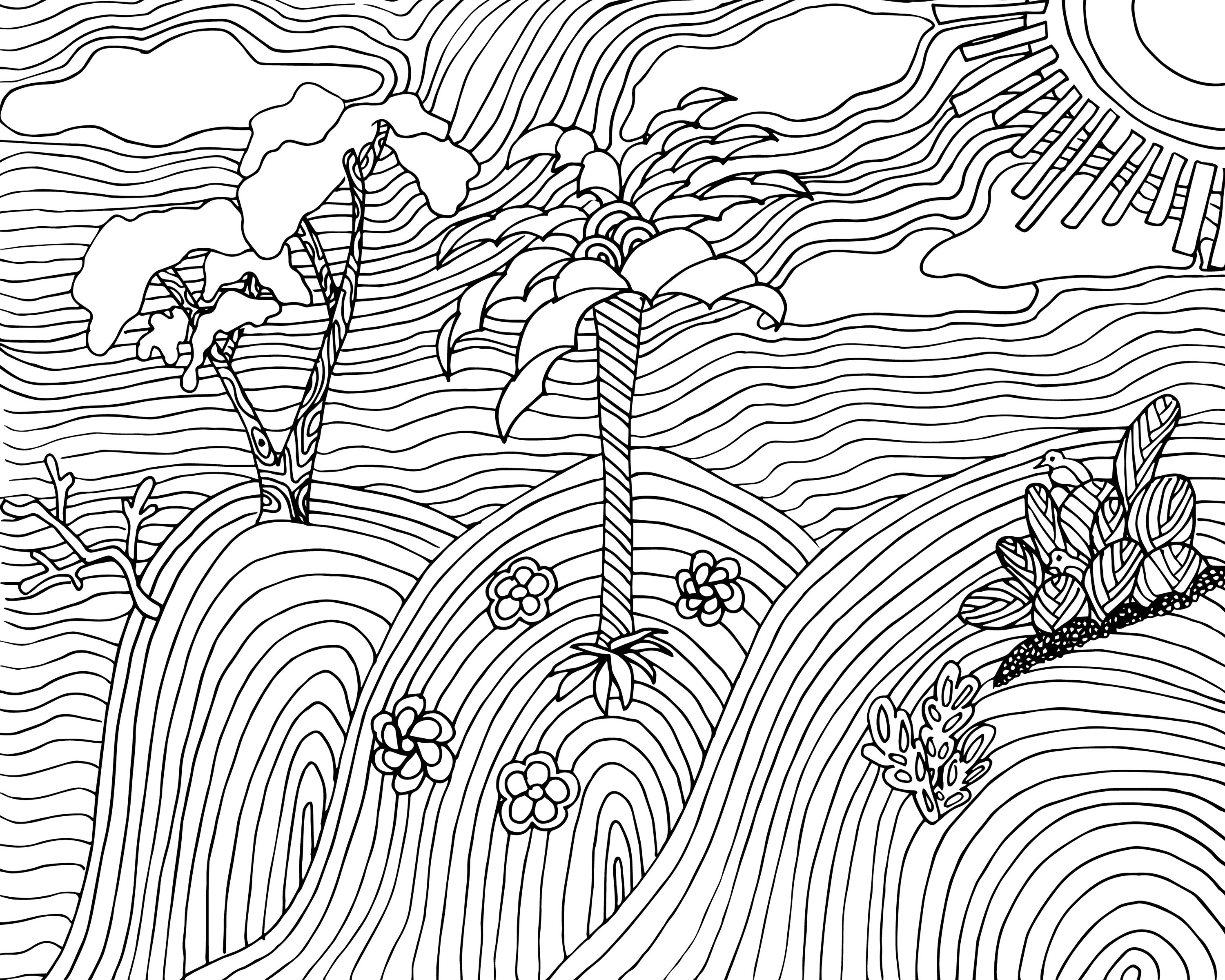 FREE landscape coloring page for