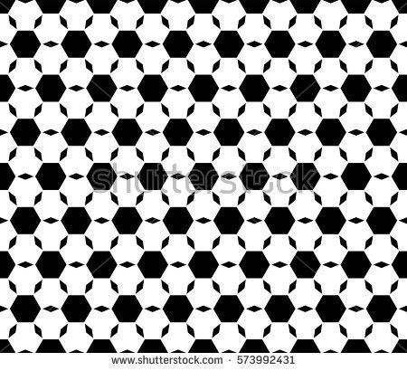 Vector monochrome seamless pattern, repeat ornamental background, angled geometric tiles. Abstract endless backdrop. Illustration of football ball texture. Design element for prints, decor, textile