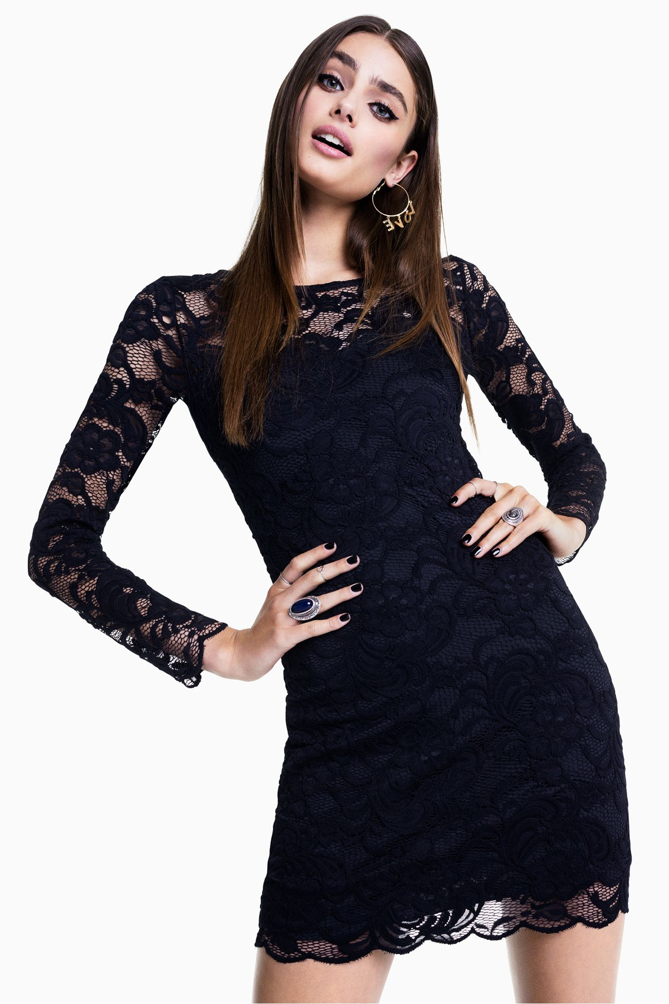 Little black lace dress with long, sheer sleeves. #HMDIVIDED