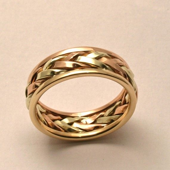 Braided In Gold Men S Large Wedding Band Handmade Maine