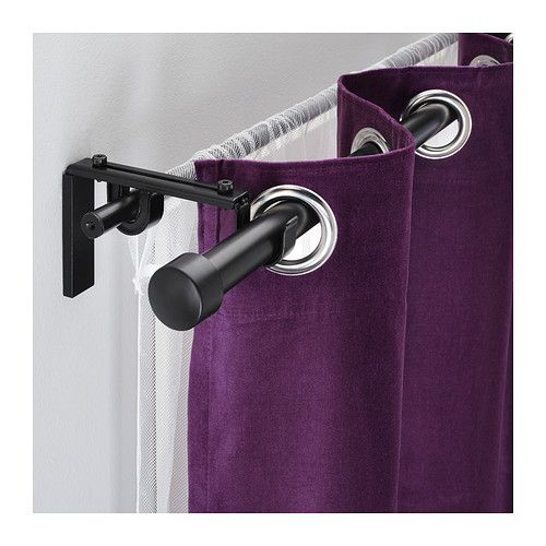 Hugad r cka combi tringle rideaux double noir 210 385 cm - Tringle rideau double ...