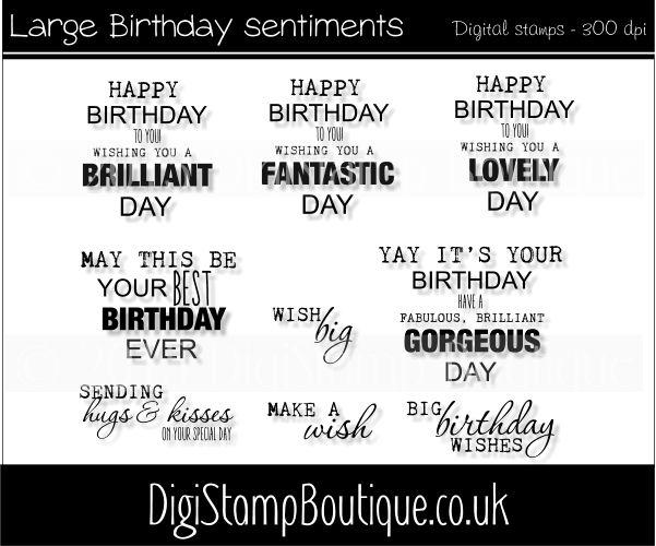* Large Birthday sentiments set