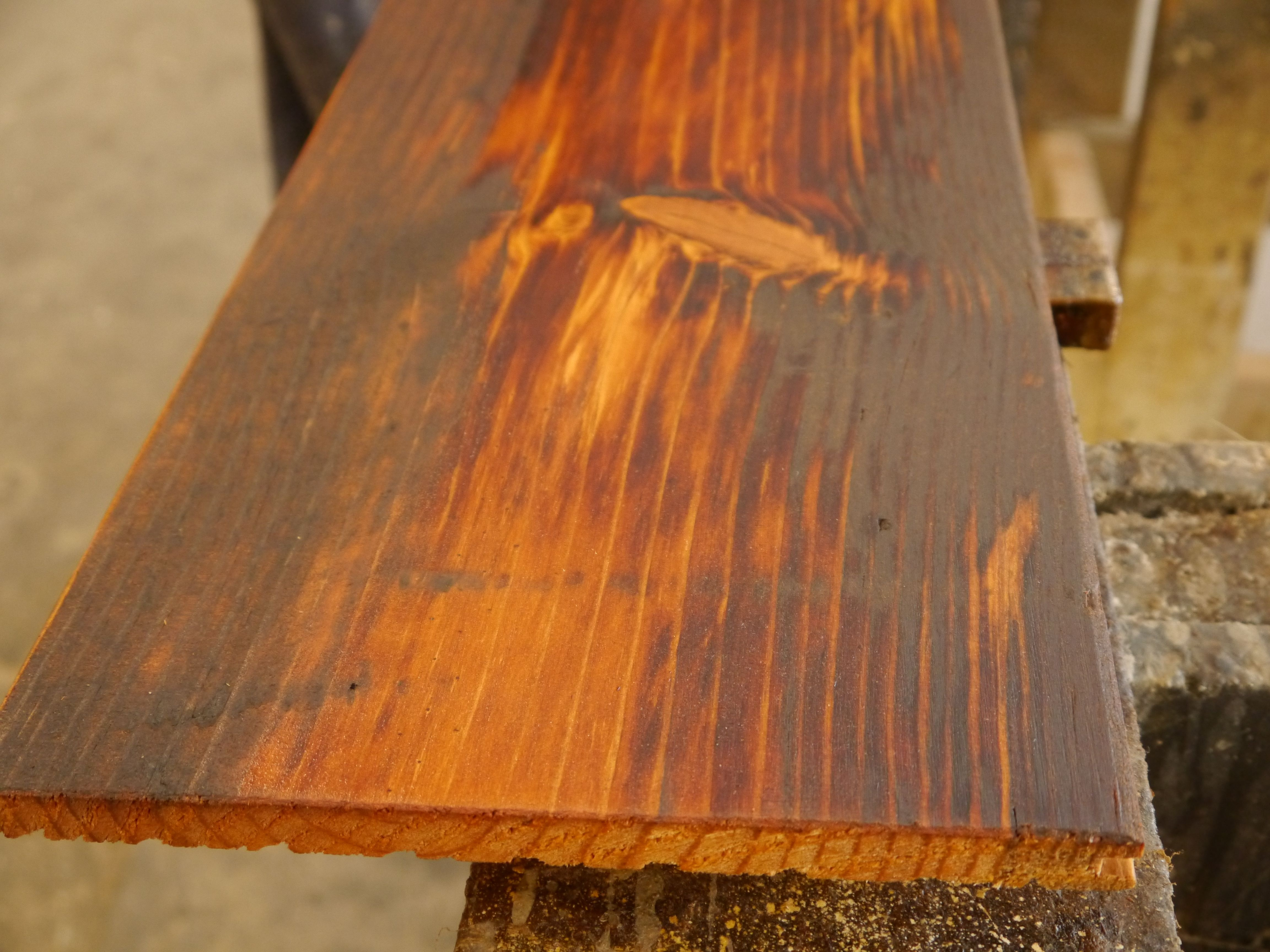Reclaimed tobacco pine flooring with a tung oil finish for Tobacco pine flooring