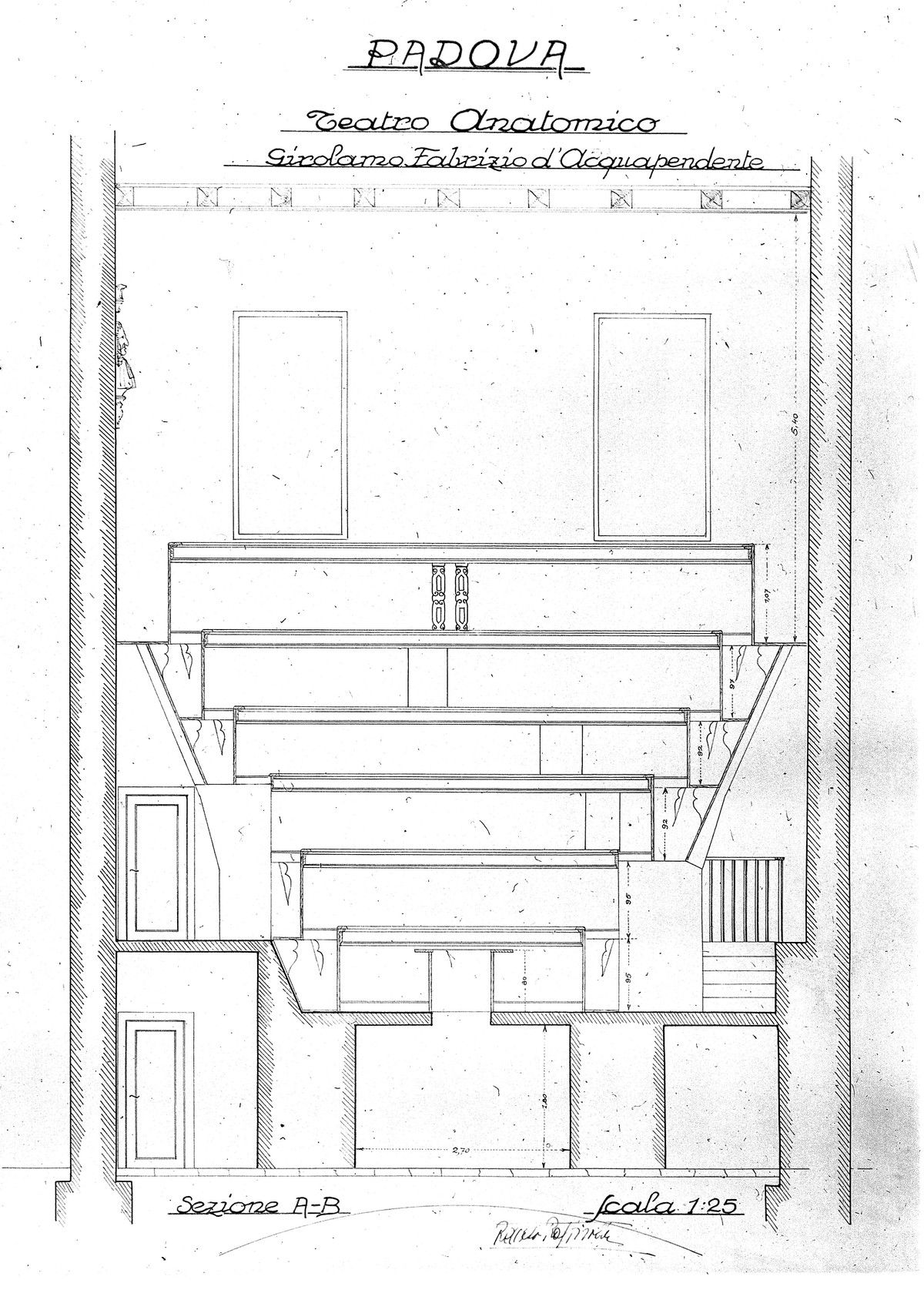 Plan and elevation of the anatomy theatre at Padua; anon., probably ...