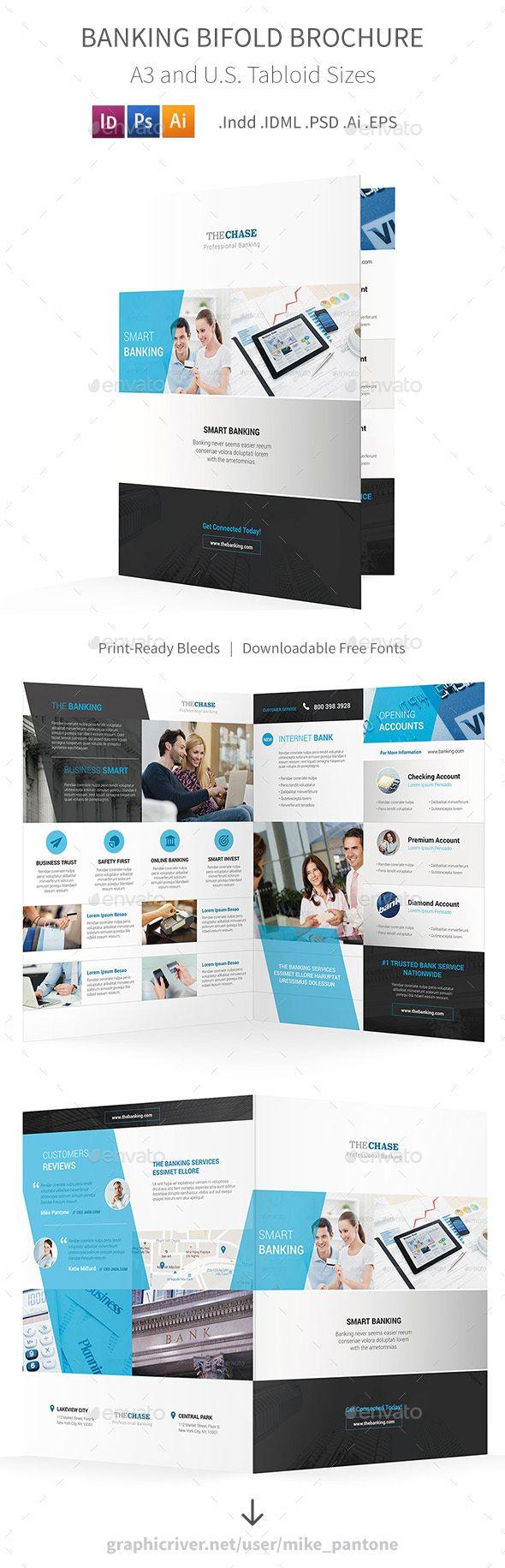 Banking Bifold  Halffold Brochure Template Psd Vector Eps