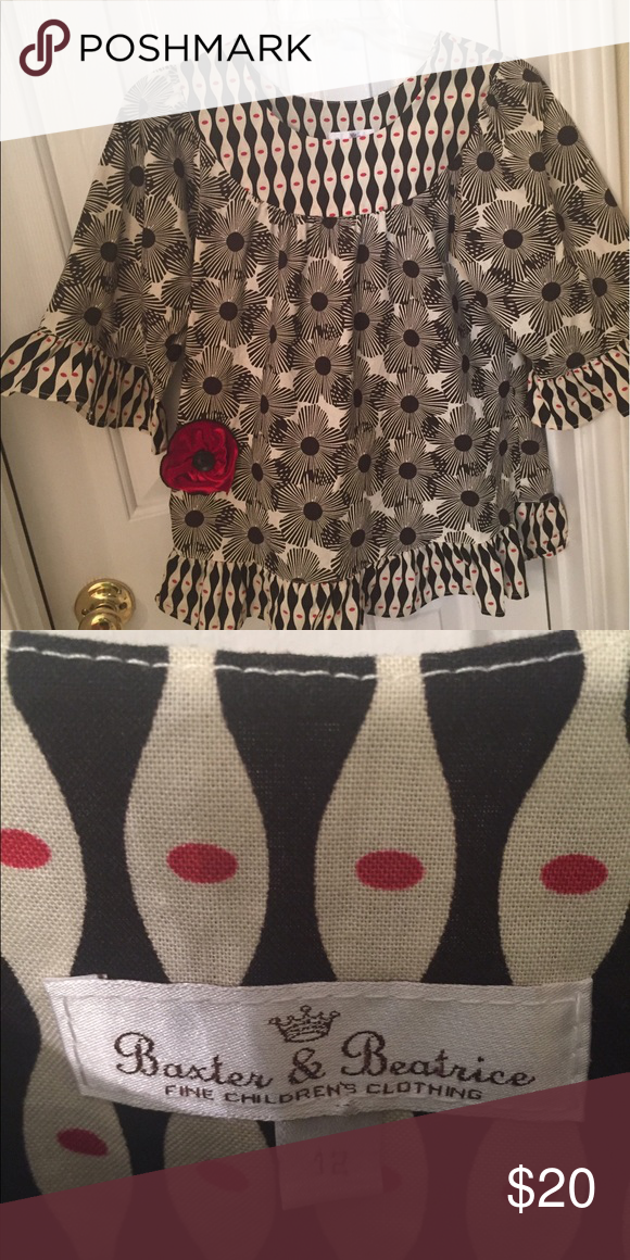 Girls tunic Tunic with velvet red rose attached. I love it. Pair it with black leggings or the flowy style bottoms! Shirts & Tops