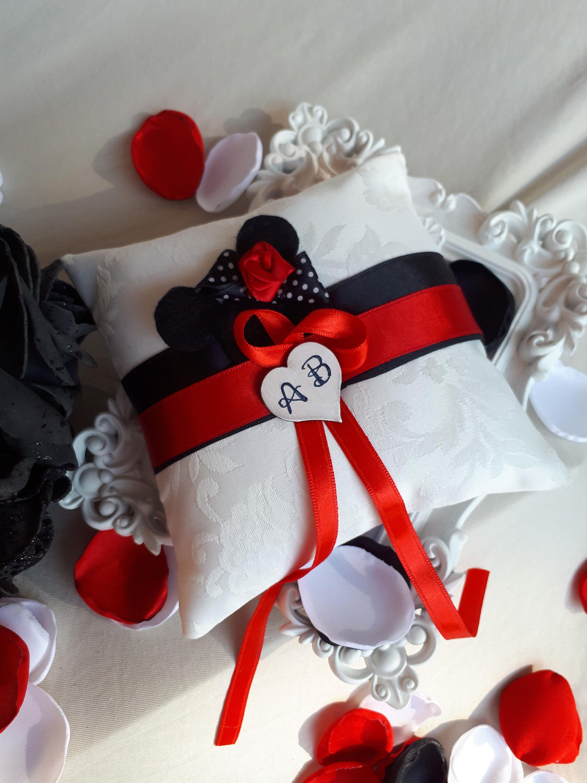 Cartoon Red Black White Ring Bearer Pillow Fairytale