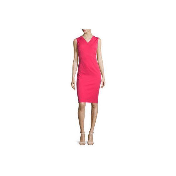 Elie Tahari Alva Sleeveless V-Neck Sheath Dress (¥10,650) ❤ liked on Polyvore featuring dresses, redberry, pink dress, v neck sheath dress, straight dress, v-neck dresses and no sleeve dress