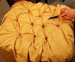 DIY: Diamond Tufting Tutorial   Lots Of Pictures + Excellent Instructions.  Thereu0027s My Yellow Tufted Bench Project.
