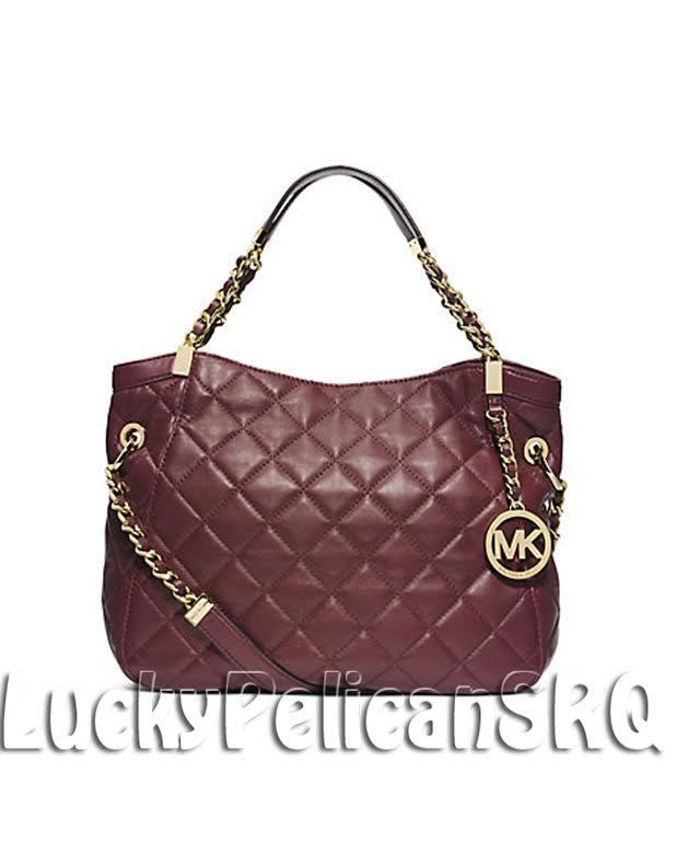 54ee8395b92 MICHAEL KORS Susannah Large Quilted Leather Tote Bag Claret Red NWT   MichaelKors  TotesShoppers