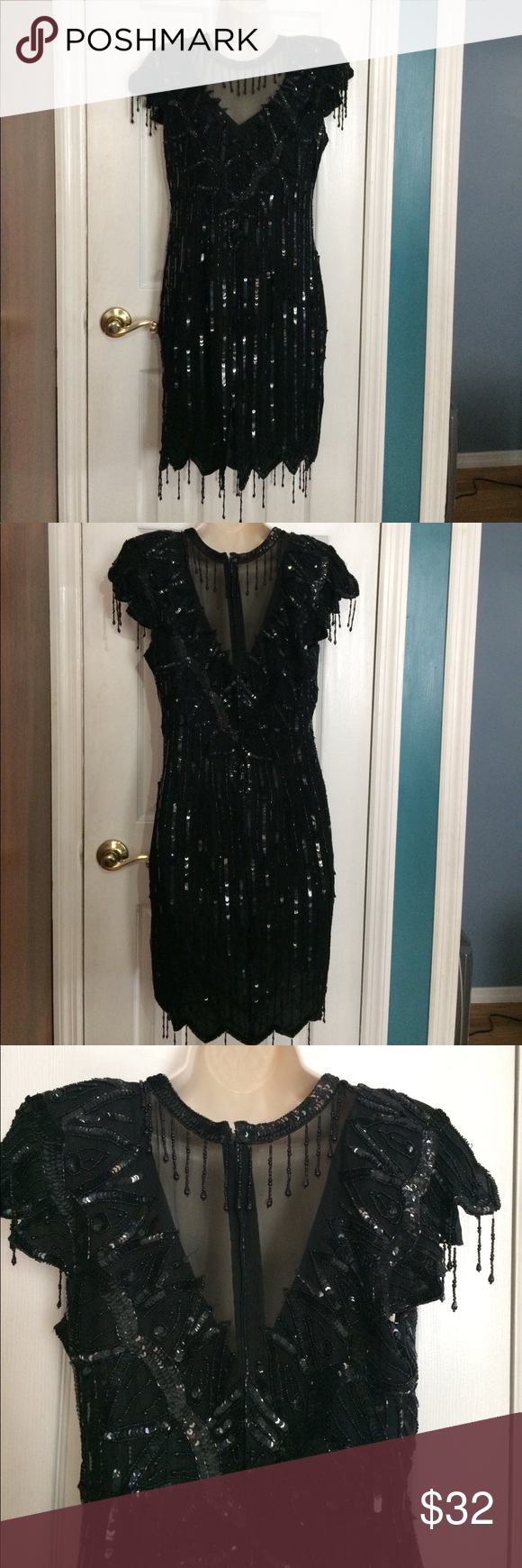 BLACK BEADED/SEQUIN FORMAL GATSBY ELEGANT DRESS Bust: 36 in.  Length: 35in.  Waist: 32 in. short sleeve. hanging beads. beautiful beaded neckline. Fitted. Worn Once, Gently. Dresses Midi