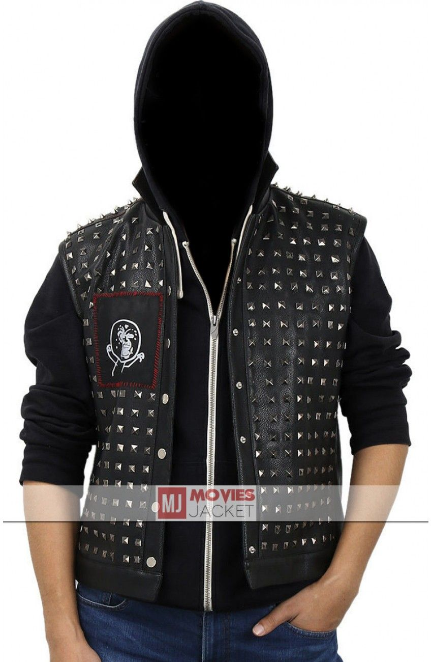 e053b8774b Watch Dogs 2 Studded Wrench Leather Jacket