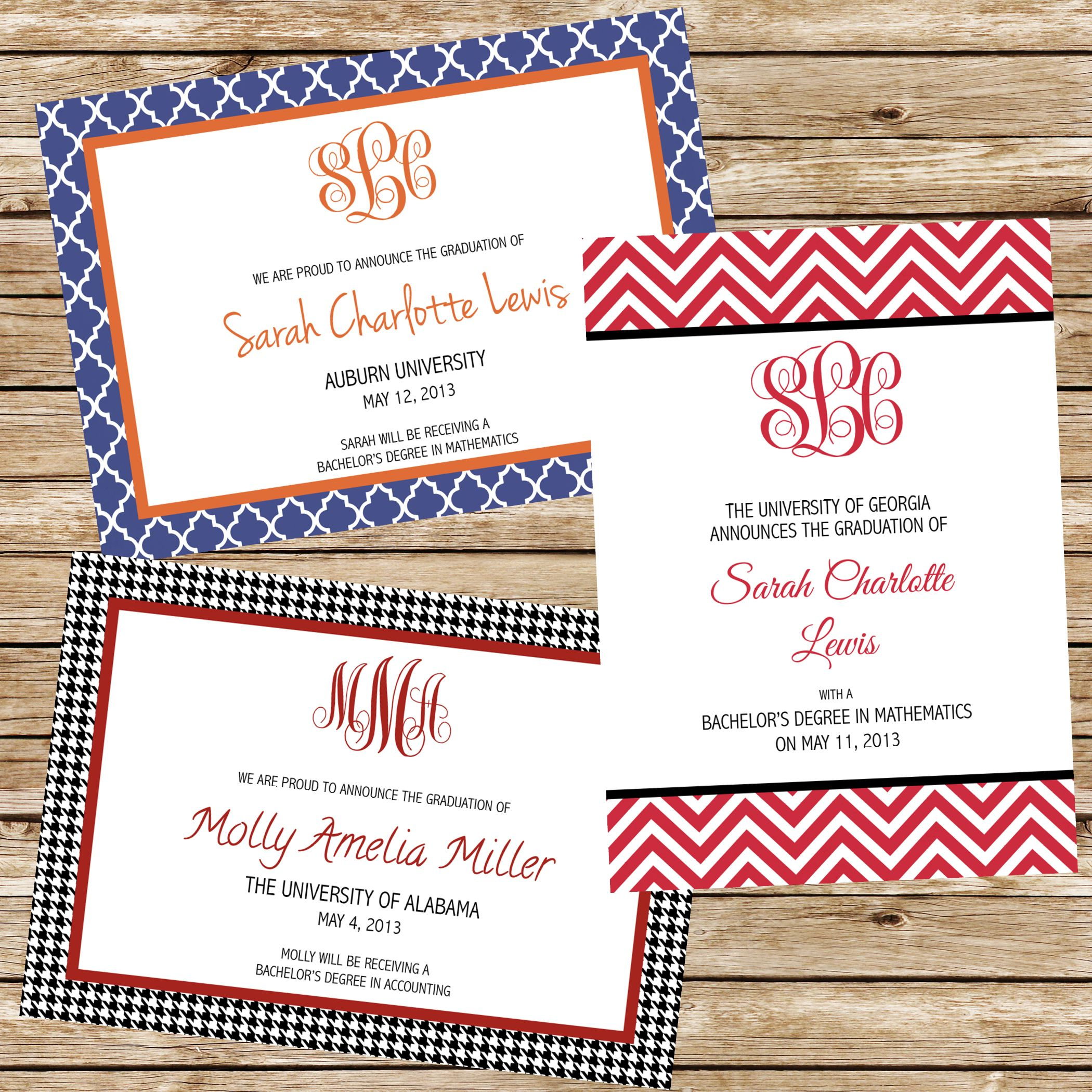 Monogrammed College Graduation Announcements - can be customized for ...