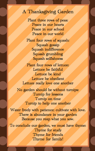 Thanksgiving Poem From Sunny Days Poetry Journals 4