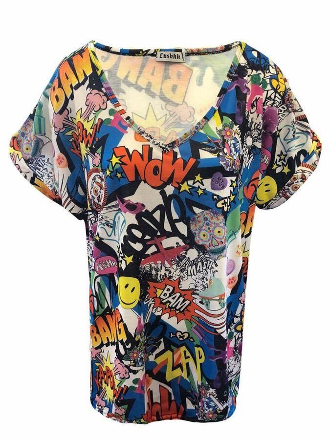 ec4cb1eaef209 UK Ladies Women Printed T-Shirt Top V Neck Lagenlook Turn Up Sleeve Loose  Baggy Printed Shirt Top