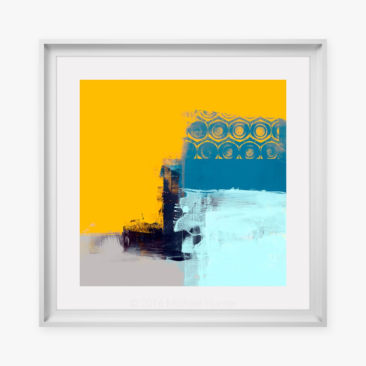 Modern Abstract Art Print - Yellow & Blue Coloured Wall Art ...