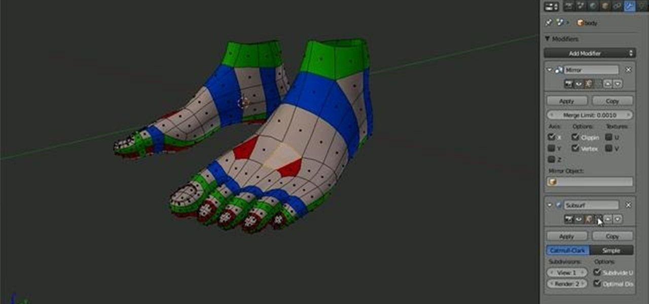 Blender Cookie Character Modeling : Model topology human foot blender g