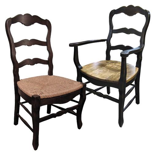 Country French Ladderback Chairs Select Rush Seat Wood Seat - Country french chairs