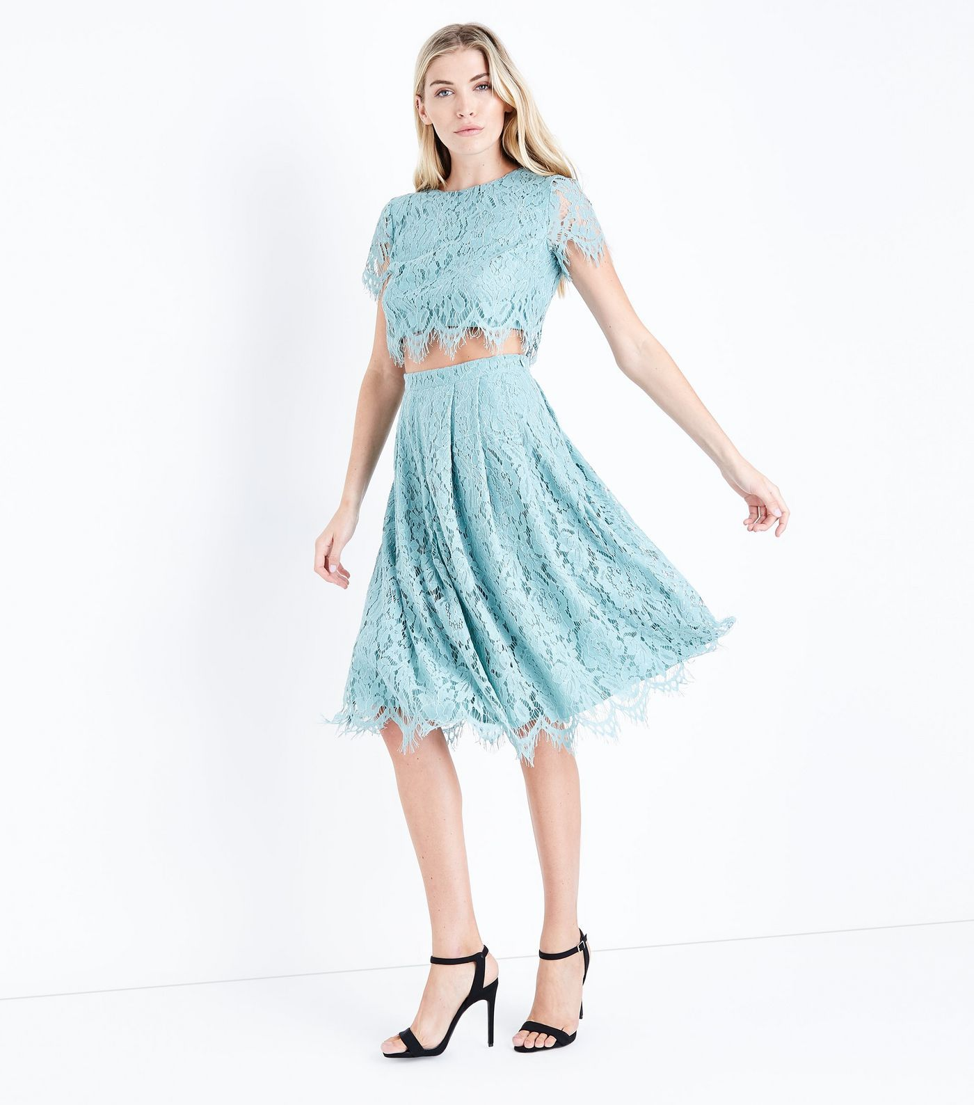 Light green lace dress  Light Green Lace Midi Skirt  Style  Pinterest  Green lace Top