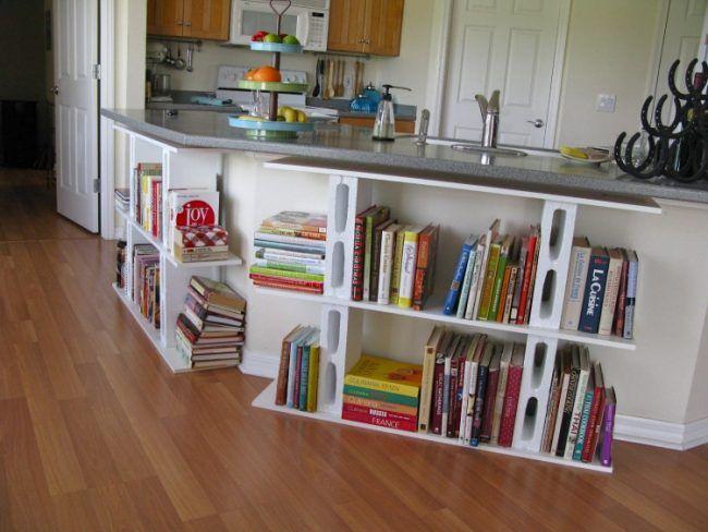 Beton Schalungssteine holzplatte-buecherregal-bauen-kuecheninsel - kücheninsel selber bauen