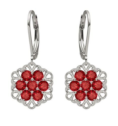 Lucia Costin .925 Silver, Red Sapphire Earrings with Filigree Details * Click image for more details.