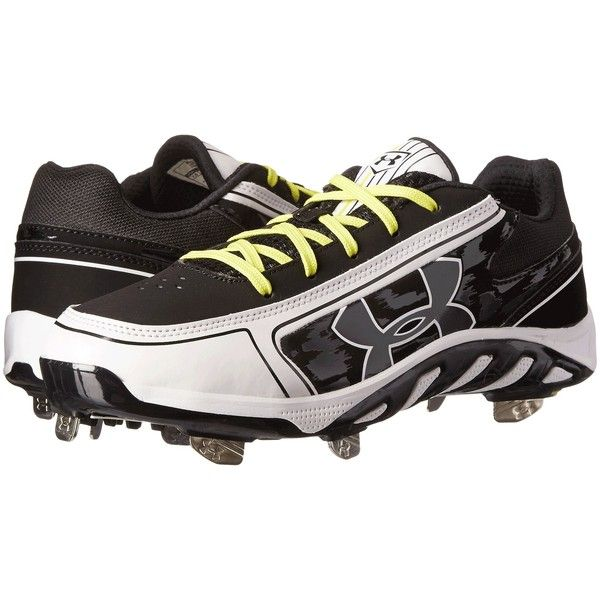 Under Armour UA Spine Glyde ST CC (Black/White) Women's Cleated Shoes ($45) ❤ liked on Polyvore featuring shoes, athletic shoes, black, spike shoes, grip shoes, under armour athletic shoes, black and white shoes and black athletic shoes