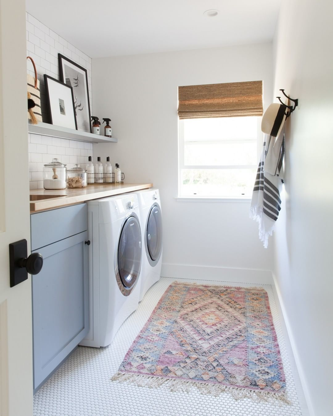 Mindy Gayer Design Co On Instagram Rise And Shine We Love This Modern Laundry Room Fro In 2020 Blue Laundry Rooms Laundry Room Storage Shelves Modern Laundry Rooms