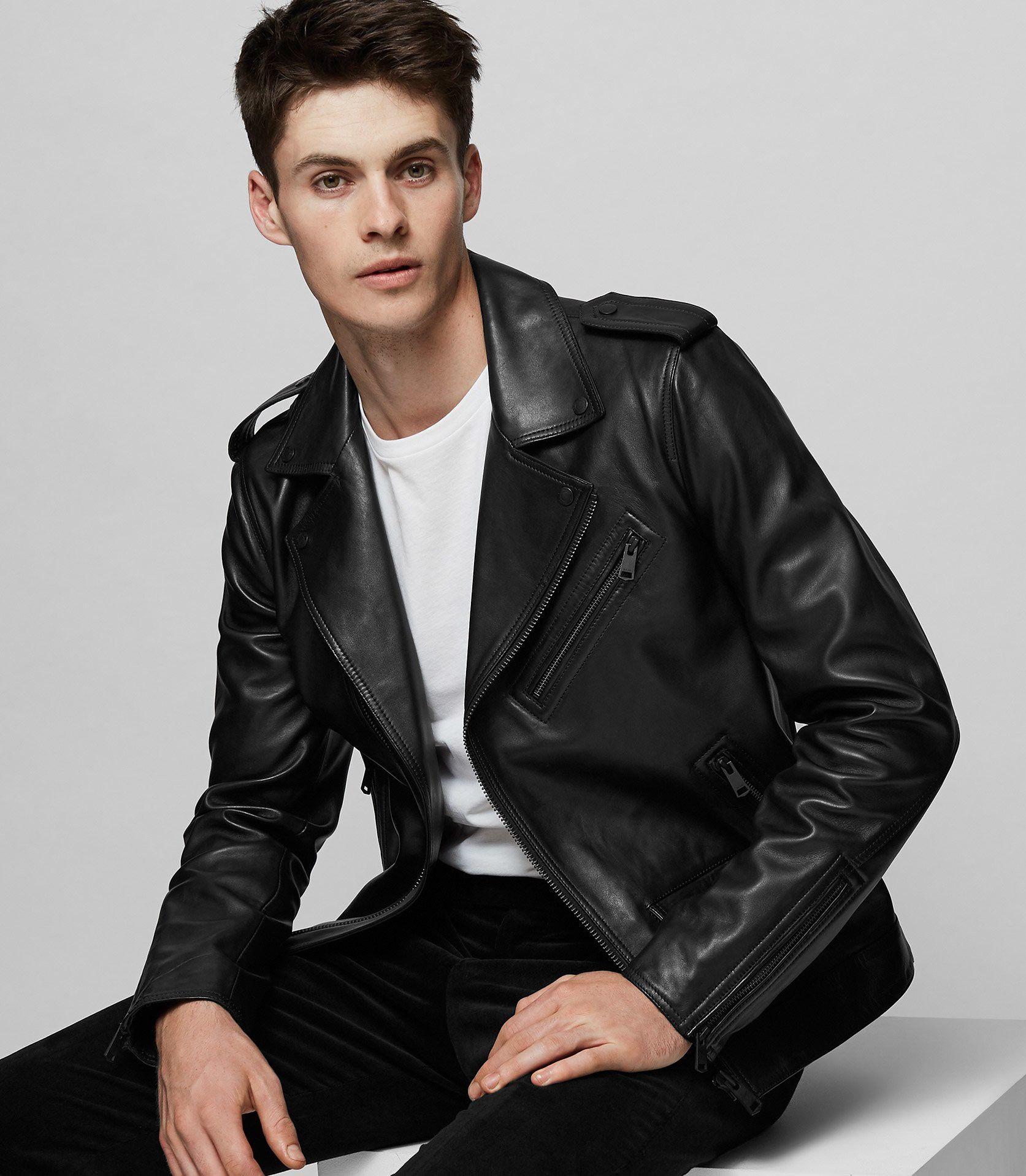 Reiss Hendrix Leather Biker Jacket Black Xl Mens Clothing Styles Mens Fashion Best Mens Fashion [ 1918 x 1673 Pixel ]
