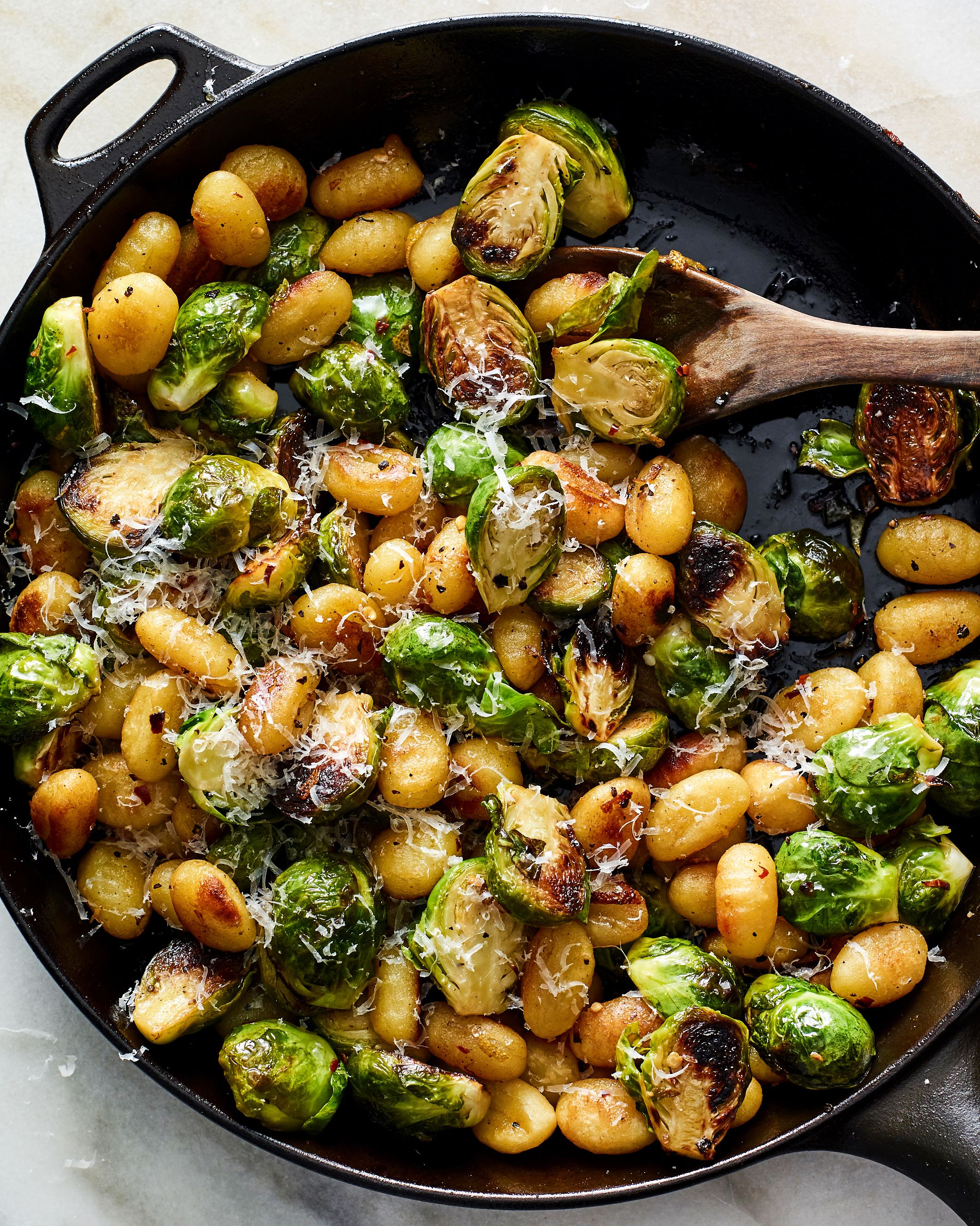 Crisp Gnocchi With Brussels Sprouts and Brown Butter  #fallrecipesdinner