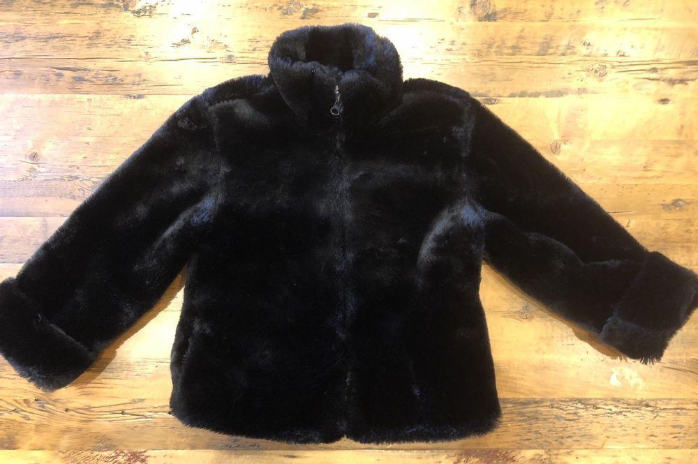 Gap kids girls size small 56 faux fur coat jacket black