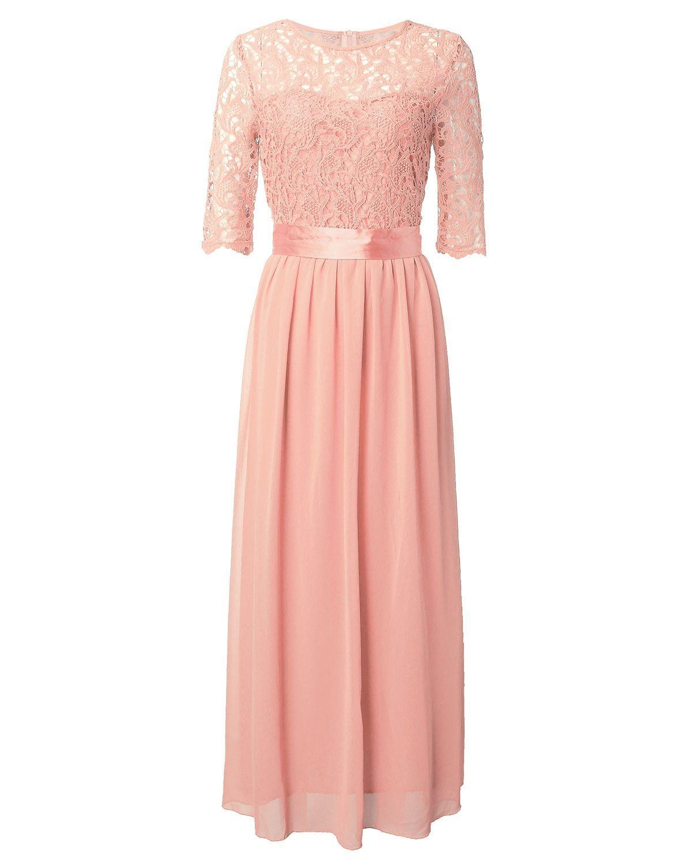 Zanzea New Women Lace Dress Half Sleeve Chiffon Maxi Long Elegant ...