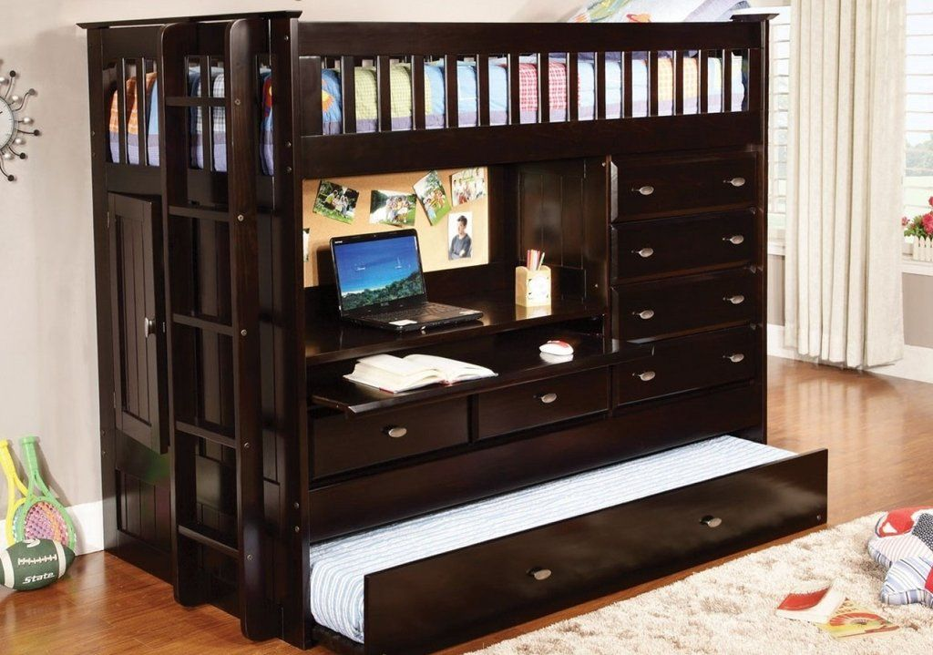 Best Loft Bed With Desk Dresser Trundle In One Custom Kids 400 x 300