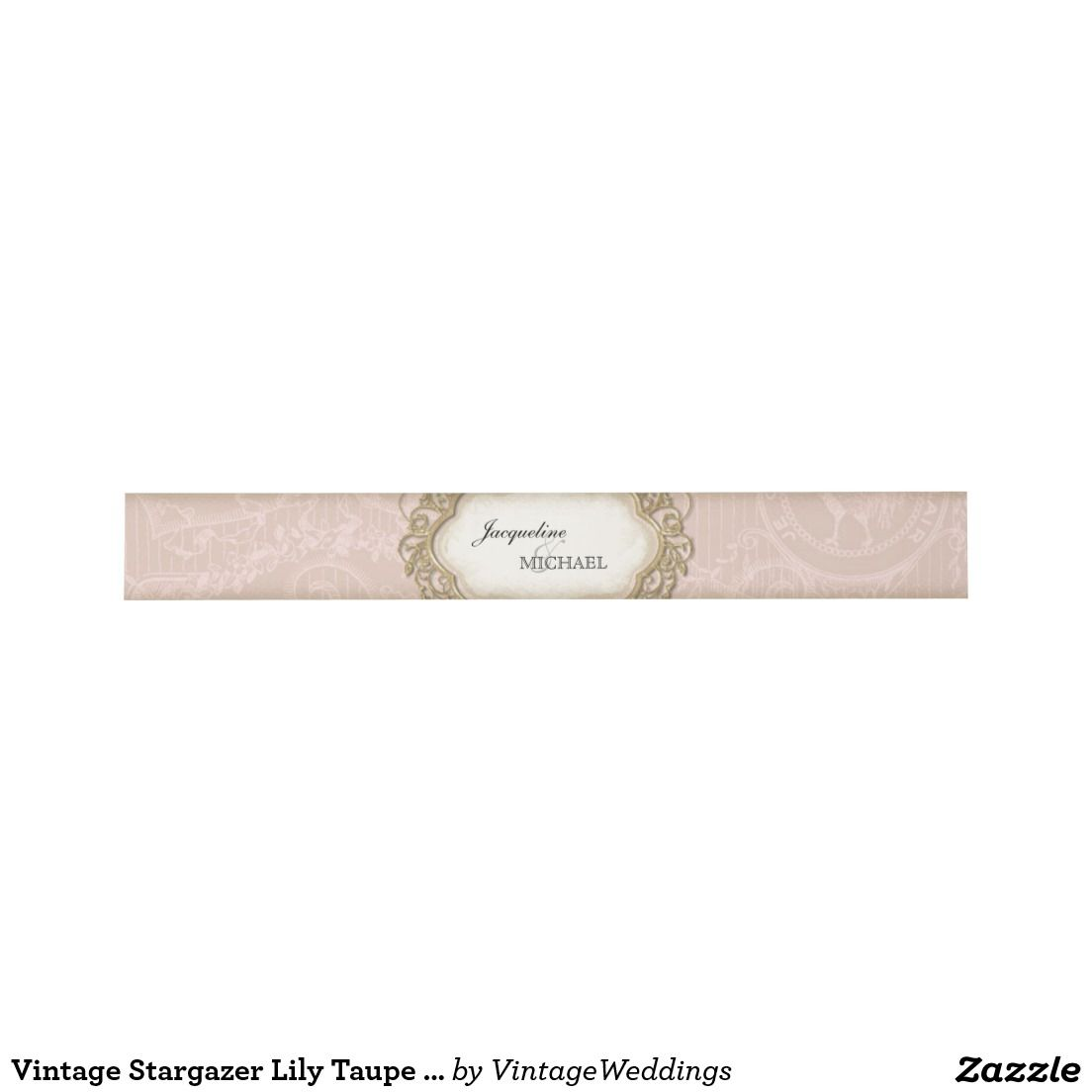 Vintage Stargazer Lily Taupe Lace Gold Frame Invitation Belly Band