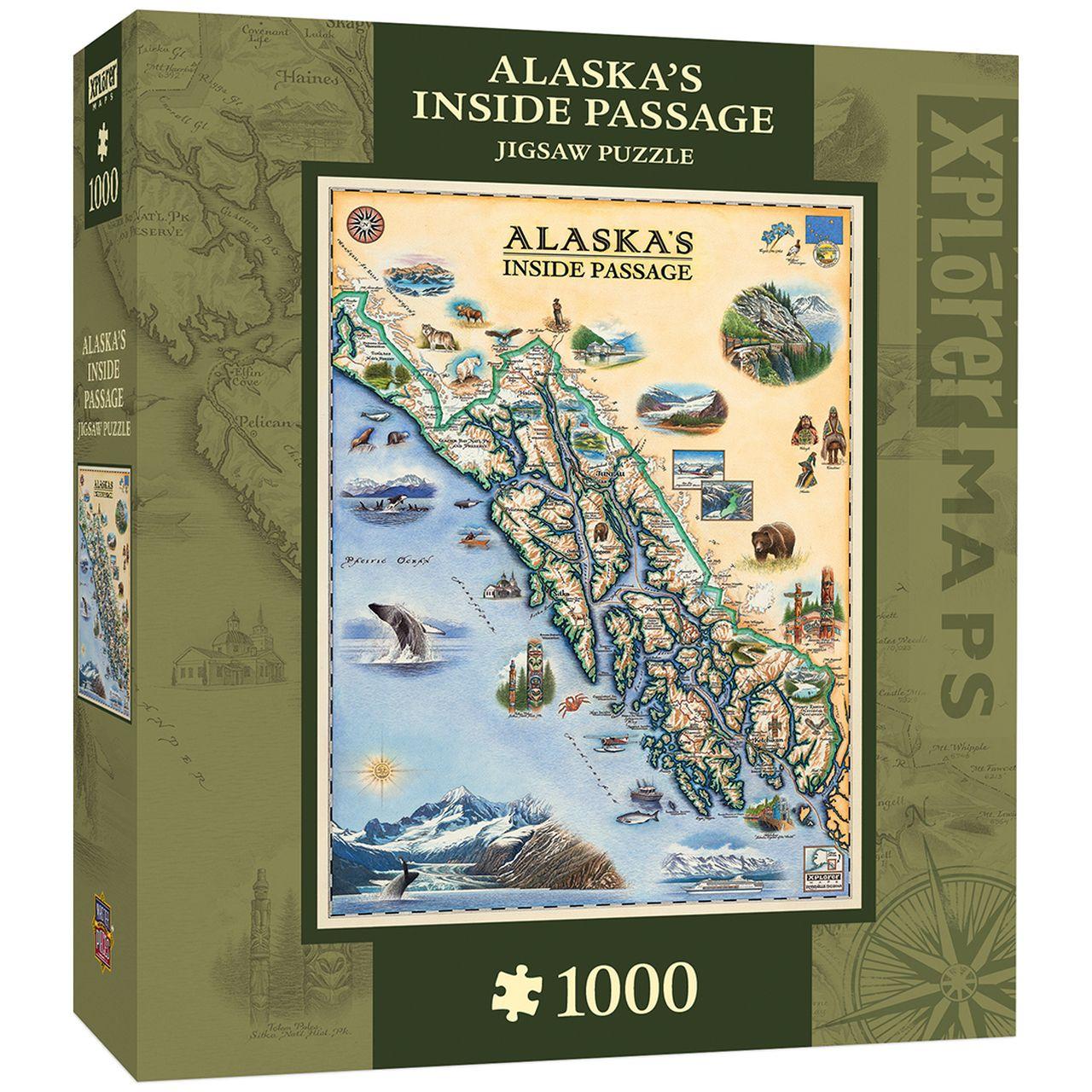 Xplorer Alaska Inside Passage Map 1000 Piece Jigsaw Puzzle In 2020 Jigsaw Puzzles 1000 Piece Jigsaw Puzzles Puzzle Frame