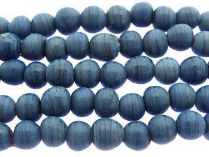 Denim Blue Roundish Glass Beads 7-9mm (JV986)