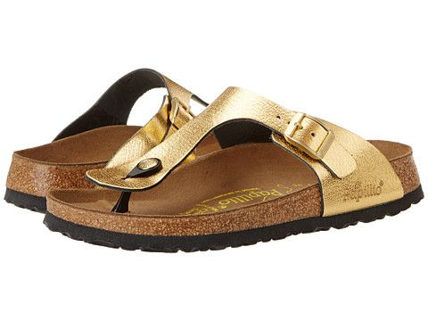 low priced 9ee73 c928c Birkenstock Gizeh by Papillio Metallic Gold Leather - Zappos ...