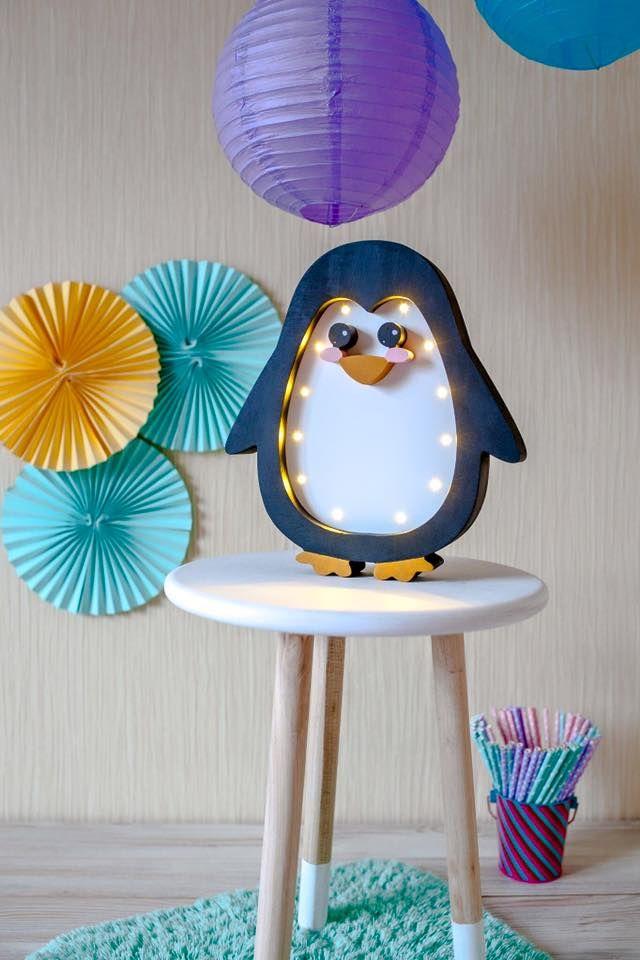 Delightful Penguin Lamp Night Light Kids Lamp Baby Room Baby Shower Lamp Penguin LED  Wooden Battery Operated