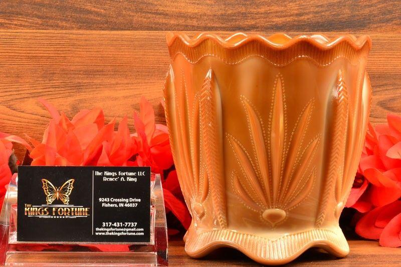 Greentown Glass 1900's Cactus Pattern Cracker Jar