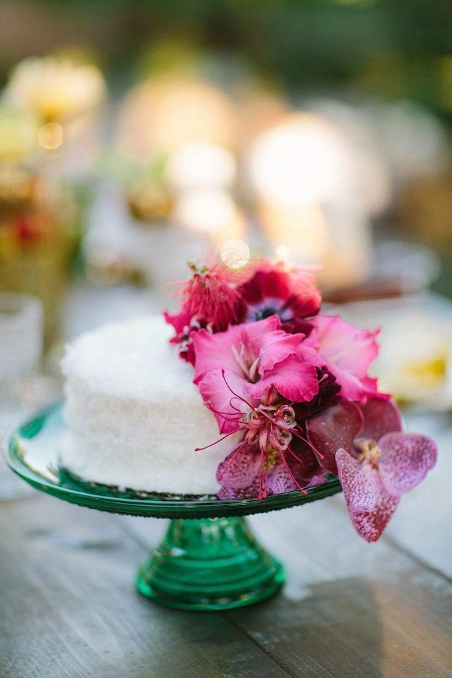 Coconut wedding cake with fresh flowers | Joielala Photography | see more on: http://burnettsboards.com/2014/05/colorful-tropical-wedding-ideas/ #wedding #cake #weddingcake