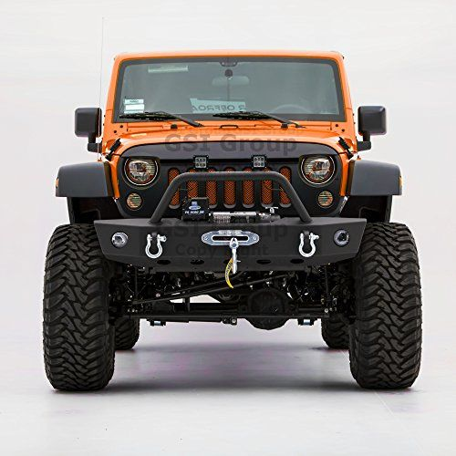 Textured Black Front Bumper w// Winch Plate /& D-Rings For Jeep Wrangler JK 07-18